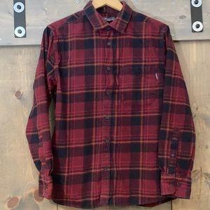 Eddie Bauer red and black plaid flannel shirt